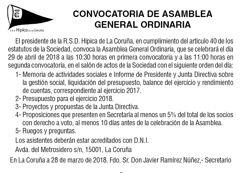 Convocatoria de asamblea general ordinaria 2018
